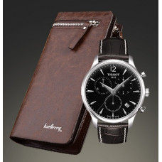 Комплект часы Tissot и портмоне Baellerry